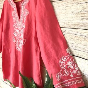 Charter Club Pink Tunic Embroidered